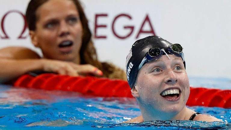 Lilly King of the United States celebrates
