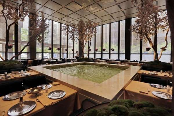 Spring blossoming trees adorn the Pool Room dining