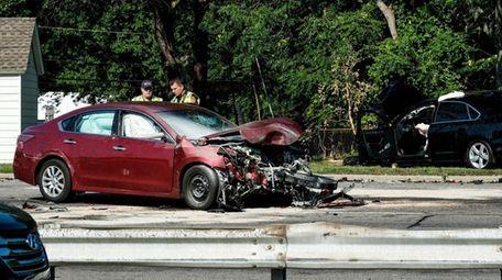 Suffolk County Police investigate a crash that shut