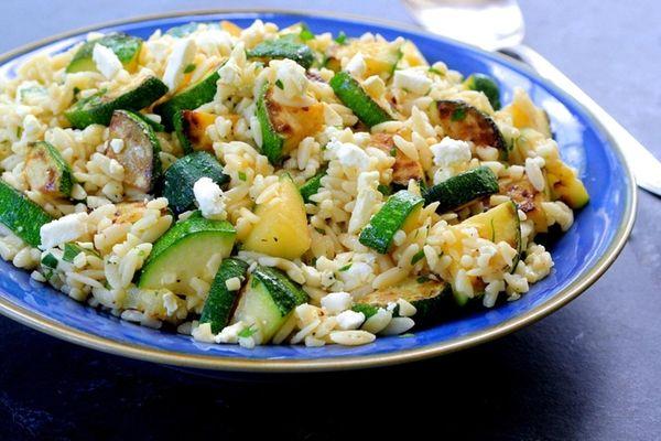 Lightly sautéed zucchini tossed with orzo, feta, lemon,
