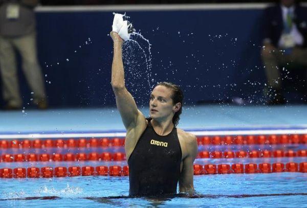 Hungary's Katinka Hosszu celebrates after setting a new
