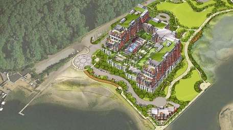 Building A, with two 11-story towers for condominiums,