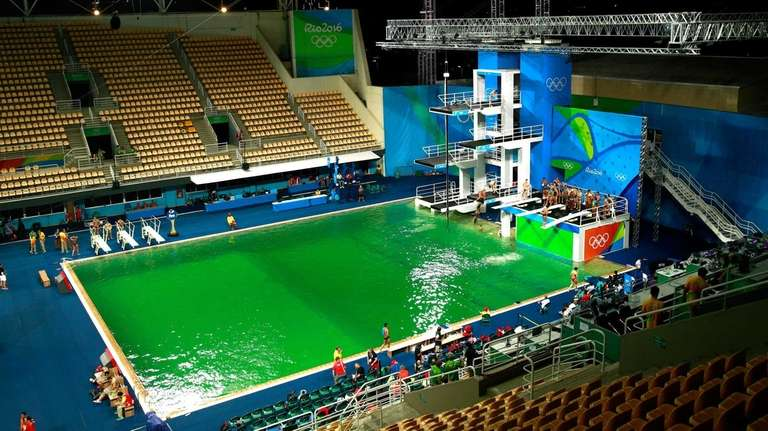 A general view of the diving pool at