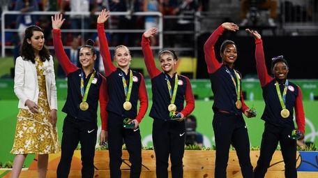 Gold Medalists Simone Biles, Gabrielle Douglas, Lauren Hernandez,