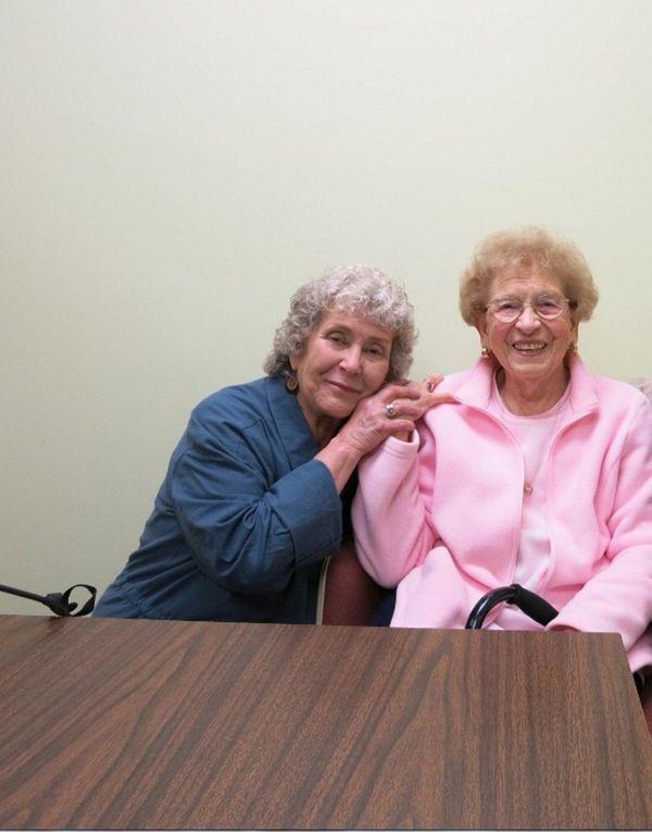 Valerie Skelly of Bellmore with her eighth-grade teacher,