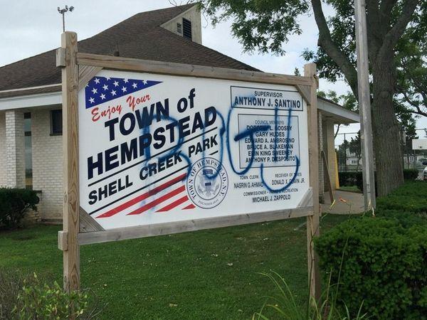 Nassau County police are investigating anti-police graffiti found