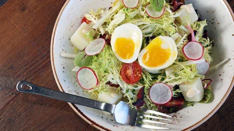 The farm and egg salad features radishes, cherry
