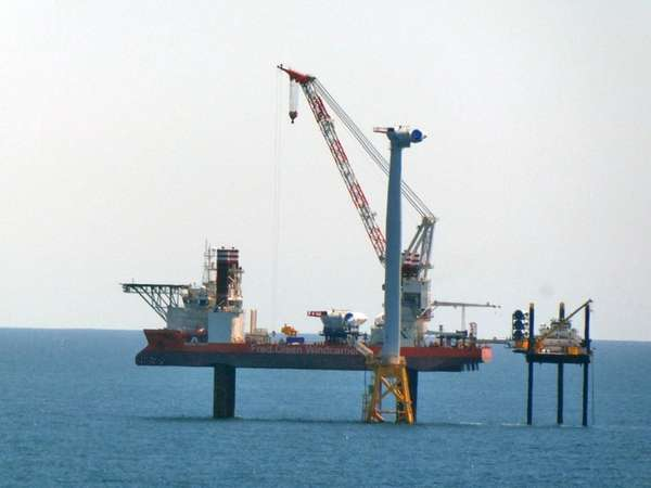 Construction on the Block Island Wind Farm