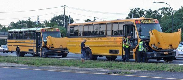Five children were hurt when two large school