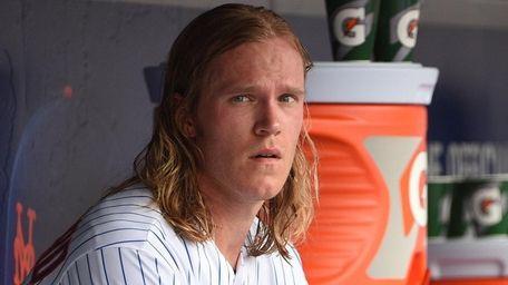 New York Mets pitcher Noah Syndergaard looks on