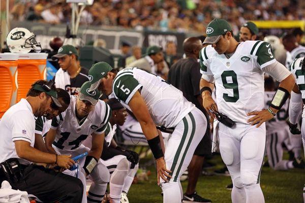 New York Jets quarterbacks coach Kevin Patullo goes