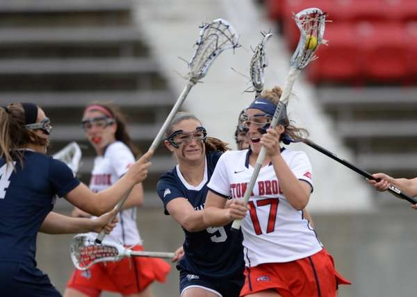 Stony Brook's Kylie Ohlmiller drives on goal during
