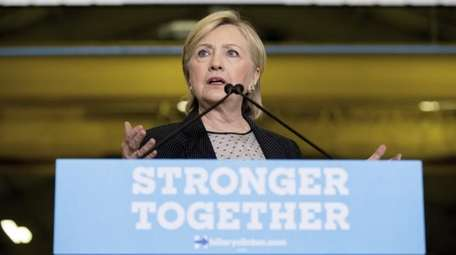 Democratic presidential candidate Hillary Clinton gives a speech