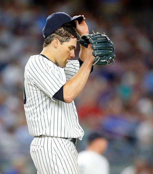 Nathan Eovaldi of the New York Yankees stands