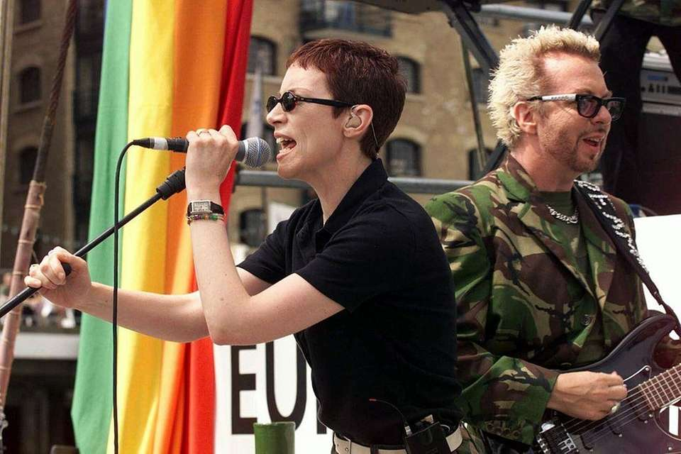 Then: Romantically involved duo Annie Lennox and Dave