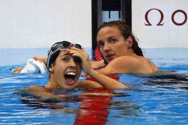 Madeline DiRado (R) of the United States celebrates