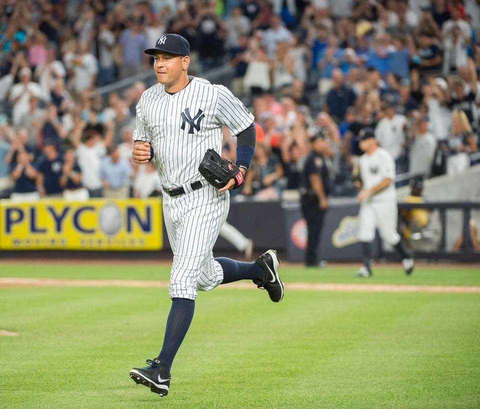 New York Yankees' Alex Rodriguez running out to