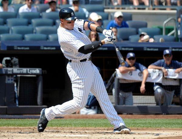 New York Yankees' Aaron Judge hits a home