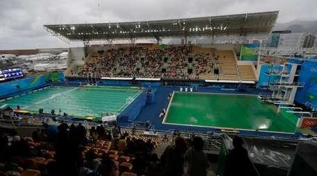 The water of the diving pool at right