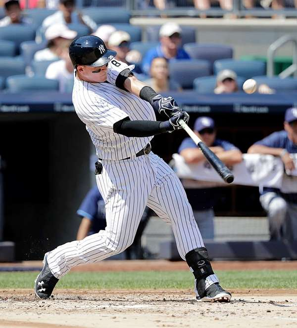 New York Yankees Tyler Austin (26) with his