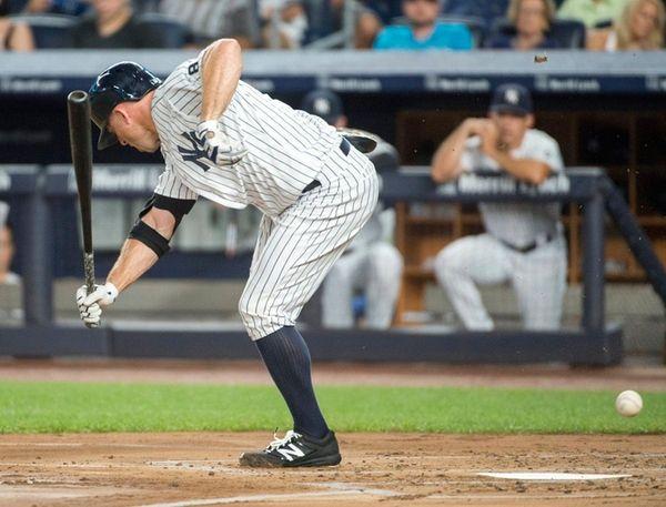 New York Yankees' Brett Gardener was hit by