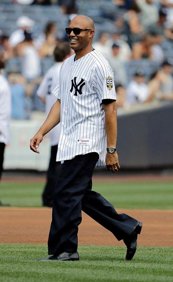 New York Yankees Mariano Rivera walks onto the
