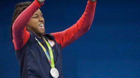 Unites States' Simone Manuel, silver medal winner, reacts