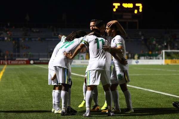 The New York Cosmos celebrate a game winning
