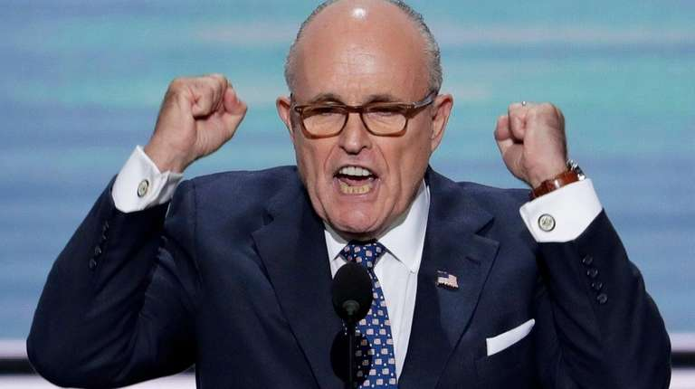 Former New York Mayor Rudy Giuliani speaks during