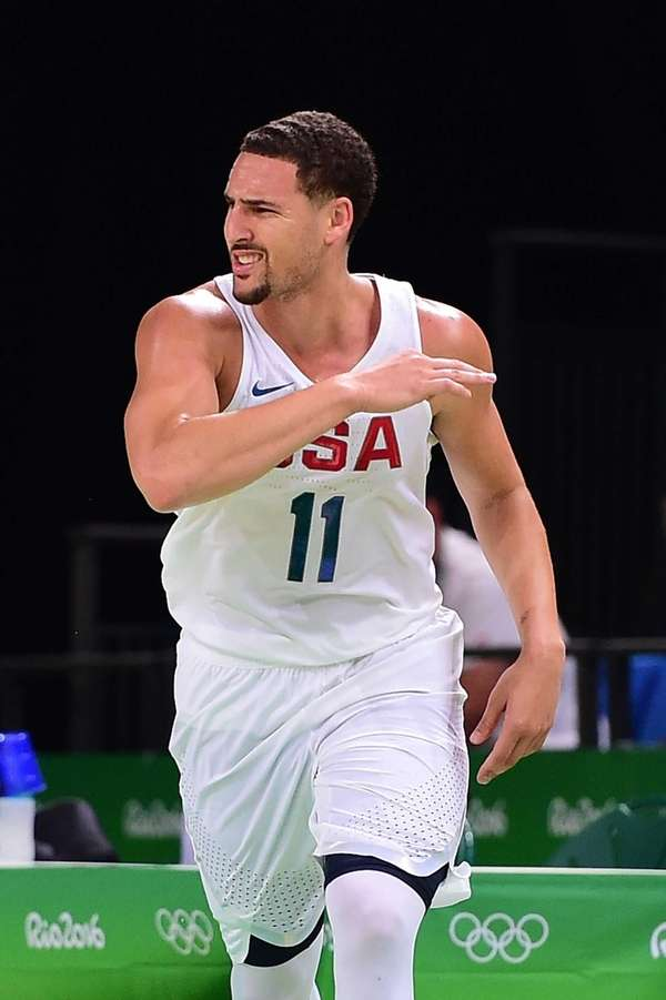 Klay Thompson #11 of United States reacts during