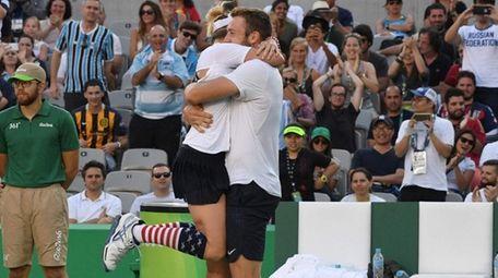 USA's Jack Sock and USA's Bethanie Mattek-Sands celebrate
