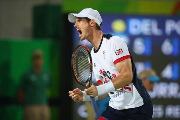 Andy Murray of Great Britain celebrates winning a