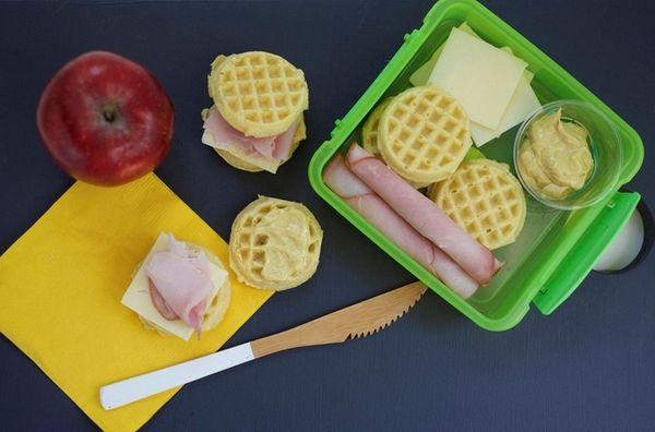 Breakfast items such as mini frozen waffle sandwiches