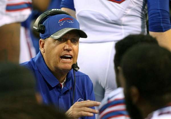 Buffalo Bills head coach Rex Ryan instructs his
