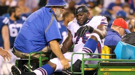 Buffalo Bills defensive end IK Enemkpali rides a