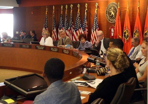 Nassau County Legislators listen to testimony on the