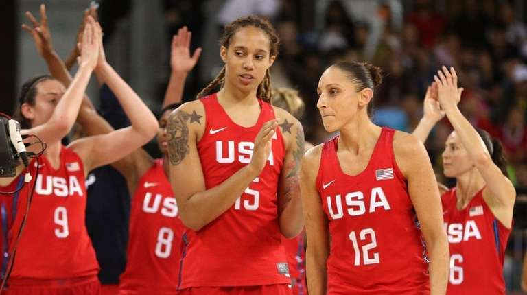 Brittney Griner #15 and Diana Taurasi #12 of