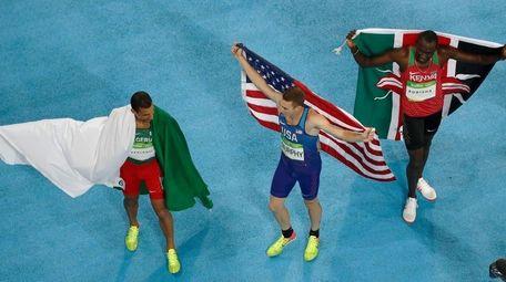 Gold medalist Kenya's David Lekuta Rudisha, right, silver