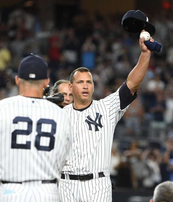 New York Yankees' Alex Rodriguez tips his cap