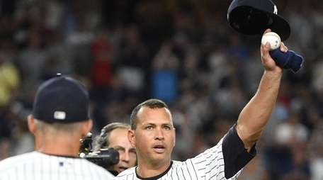 New York Yankees' Alex Rodriguez tips his cap