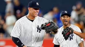 Aaron Judge, from left, Aaron Hicks and Jacoby