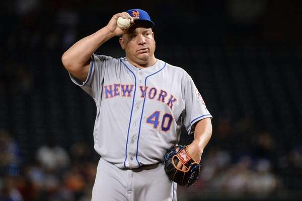 Bartolo Colon of the New York Mets reacts