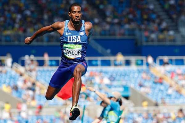 Christian Taylor competes in the Men's Triple Jump