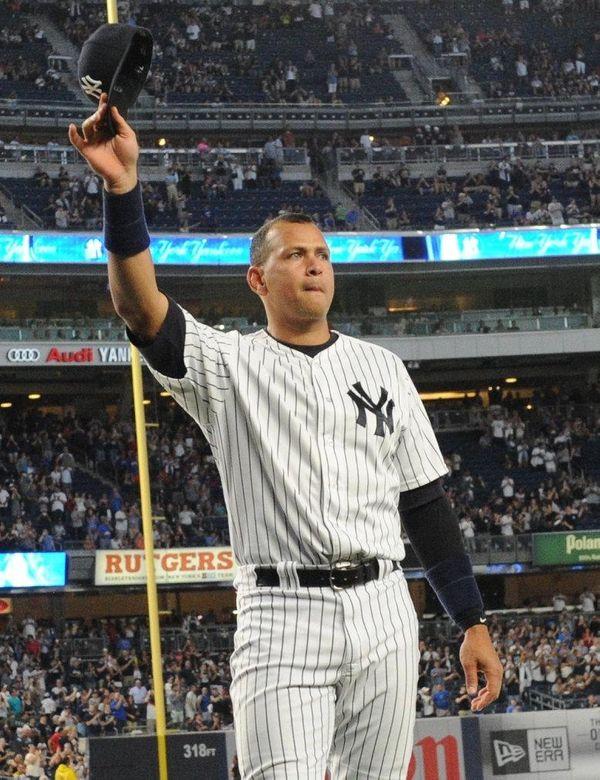 Alex Rodriguez raises his cap to the fans