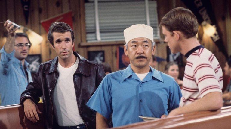 Henry Winkler, left, Pat Morita, Ron Howard on