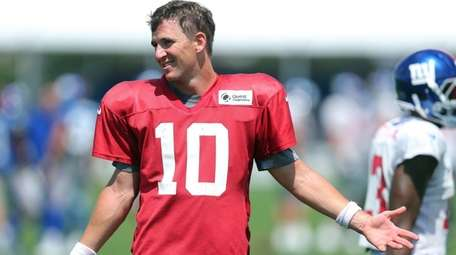 Eli Manning, reacting after a two-minute drill during