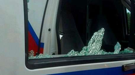 An ambulance window was shattered on Tuesday, Aug.