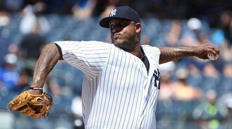 New York Yankees' CC Sabathia struck out 12