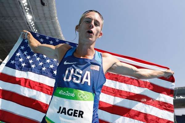 USA's Evan Jager celebrates after winning second place