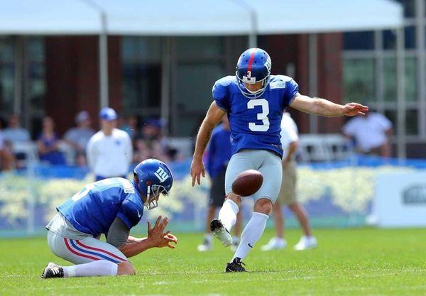 New York Giants kicker Josh Brown #3 kicks